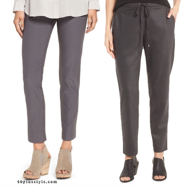 Must have Eileen Fisher pants you need in your capsule wardrobe. 40plusstyle.com