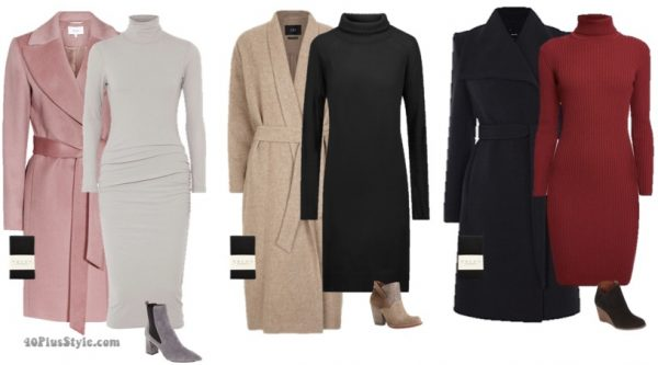 belted wool coat and turtleneck outfit ideas for winter | 40plusstyle.com