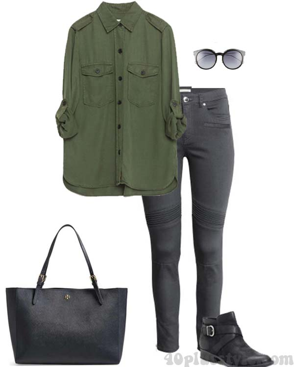 Green with gray outfit ideas | 40plusstyle.com
