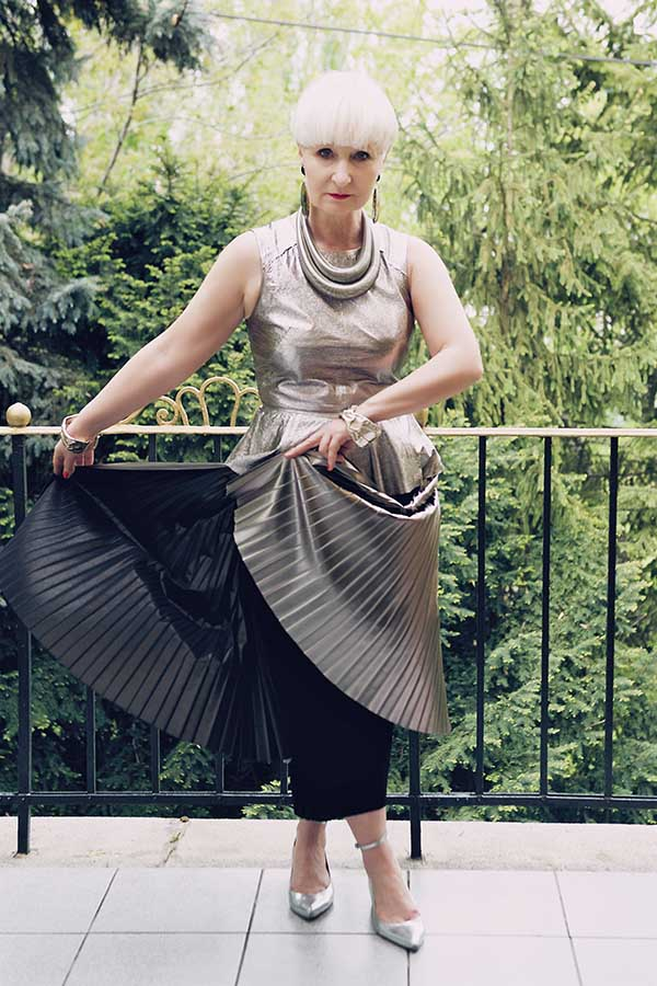 Silver outfit idea : chic pleated dress and accessories | 40plusstyle.com