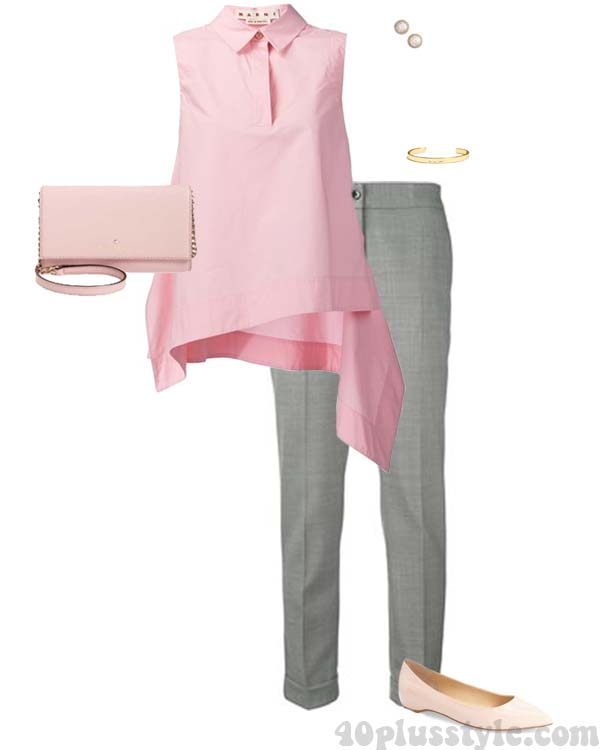 Pink with gray outfit ideas | 40plusstyle.com