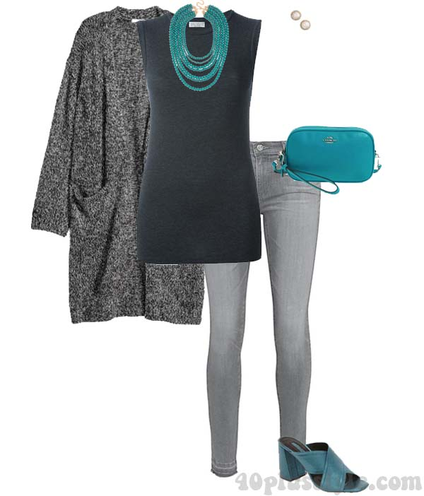 Gray outfits with a pop of color | 40plusstyle.com