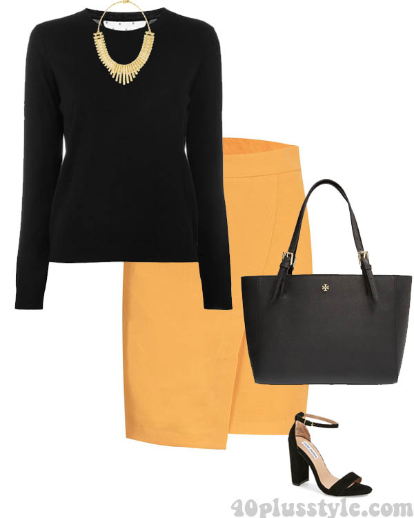 Chic yellow skirt | 40plusstyle.com