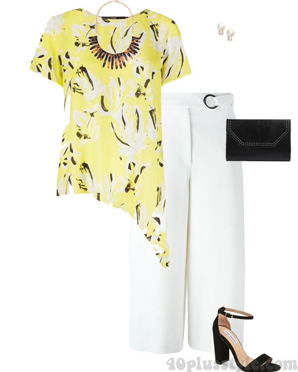 Stylish yellow print asymmetrical top | 40plusstyle.com