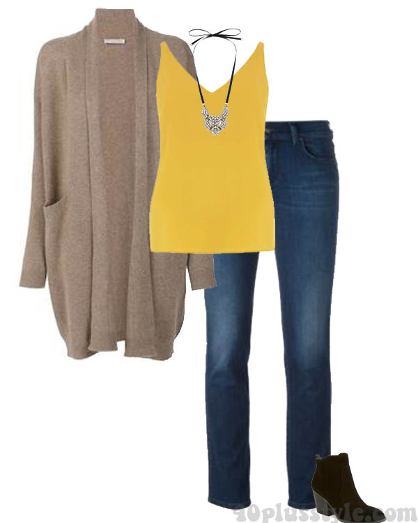 How to wear yellow: Yellow top with a neutral cardigan | 40plusstyle.com