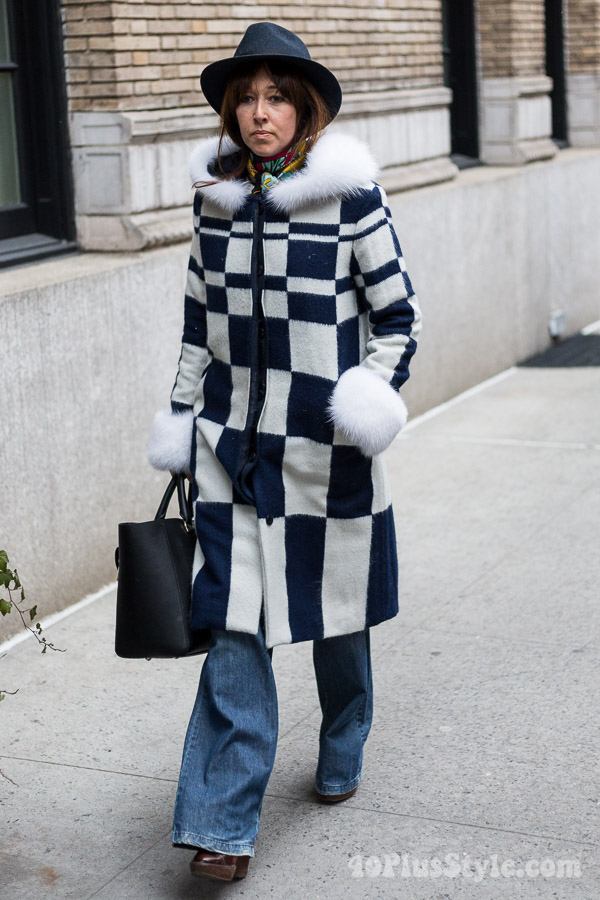 Checkered faux fur | 40plusstyle.com