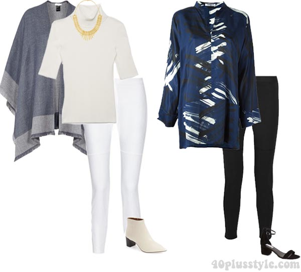 Long tops and ponchos with leggings | 40plusstyle.com