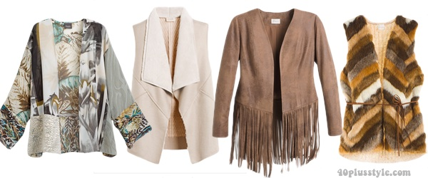 Boho vests and jackets to create a bohemian capsule wardrobe | 40plusstyle.com