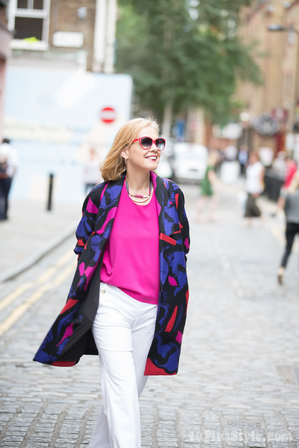 Color Diane von Furstenberg jacket, theory pants and In good Compnay top and necklace | 40plusstyle.com