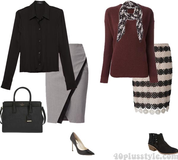 pencil-skirt outfits for the hourglass body   40plusstyle.com