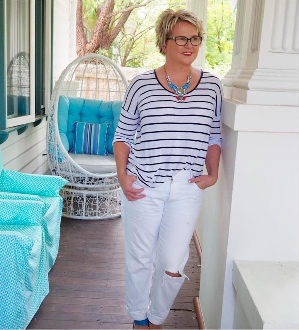 Stripes with white pants | 40plusstyle.com