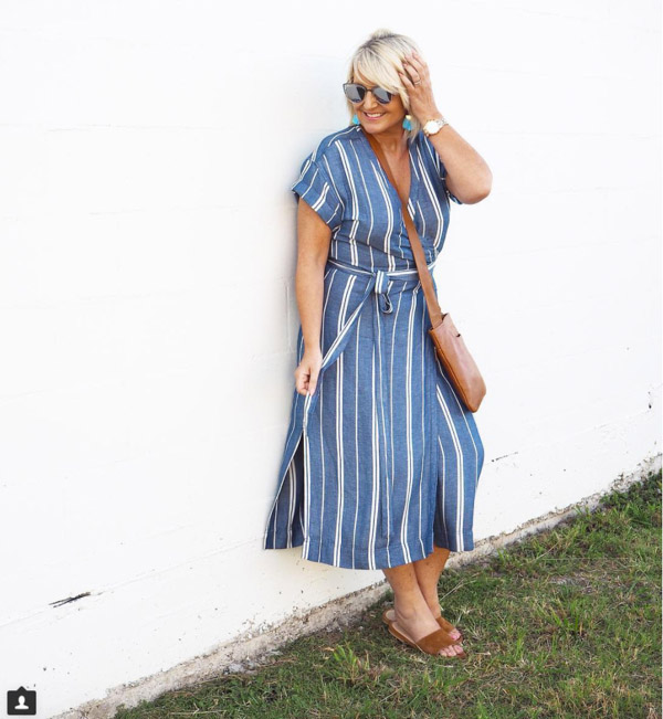 striped dress for spring | 40plusstyle.com