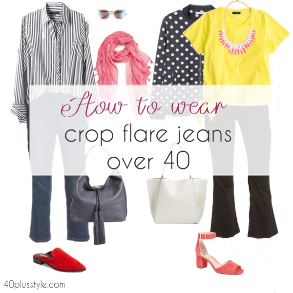 How to wear crop flare jeans over 40 | 40plusstyle.com