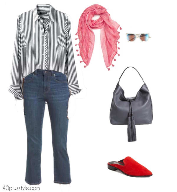 How to style crop flare jeans over 40   40plusstyle.com