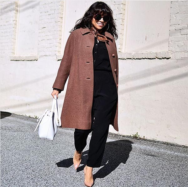 Coat with jumpsuits outfit | 40plusstyle.com