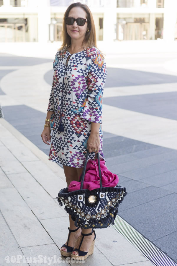 colorful and geometric dress | 40plusstyle.com