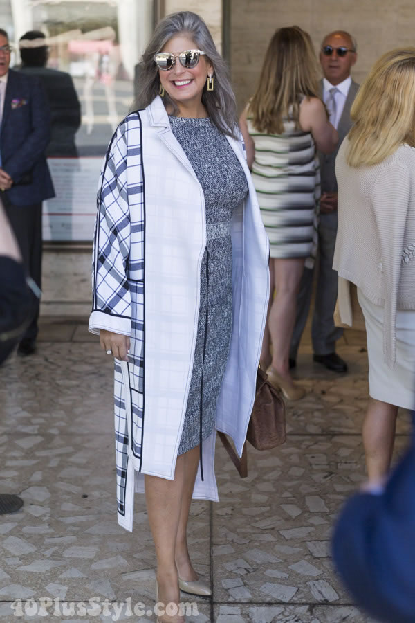 plaid cardigan dress | 40plusstyle.com