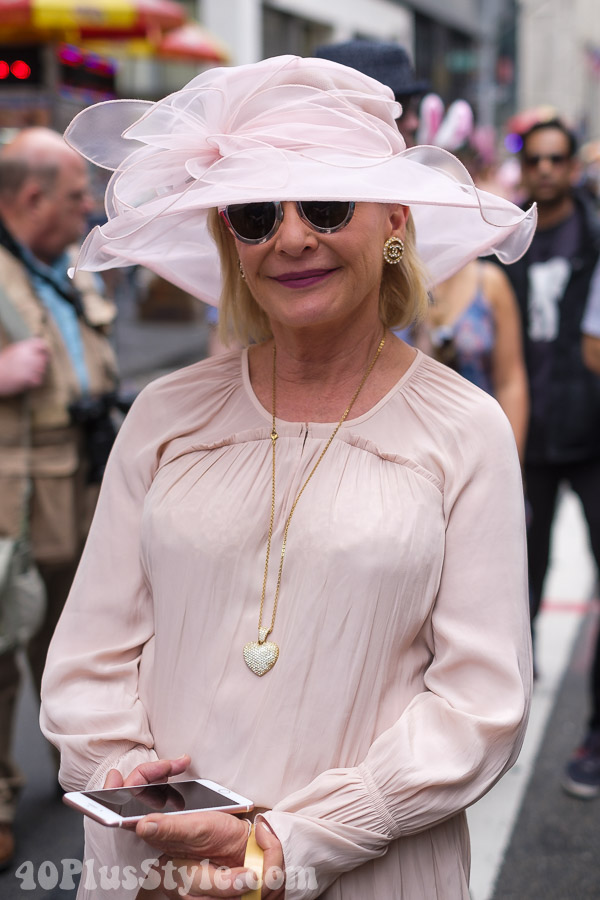Soft pink with gold accessories at the New York Easter Parade | 40plusstyle.com