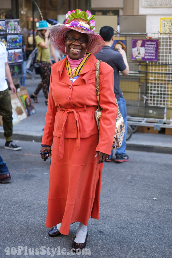 Long coat with loafers at the New York Easter Parade | 40plusstyle.com