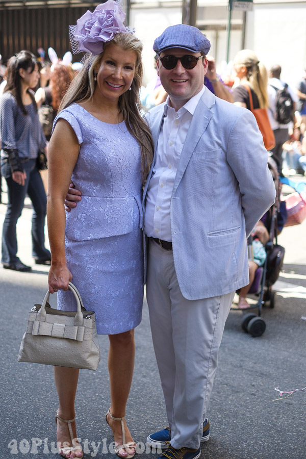 Lavender lace dress at the New York Easter Parade | 40plusstyle.com