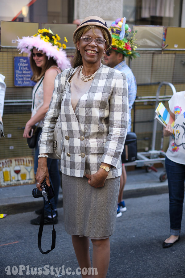 Grey plaid blazed at the New York Easter Parade | 40plusstyle.com