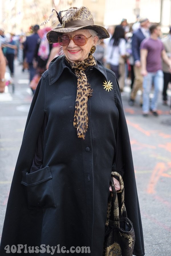 Cheetah print accessories at the New York Easter Parade | 40plusstyle.com