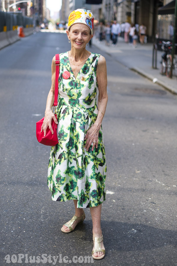 Tropical themed dress at the New York Easter Parade | 40plusstyle.com