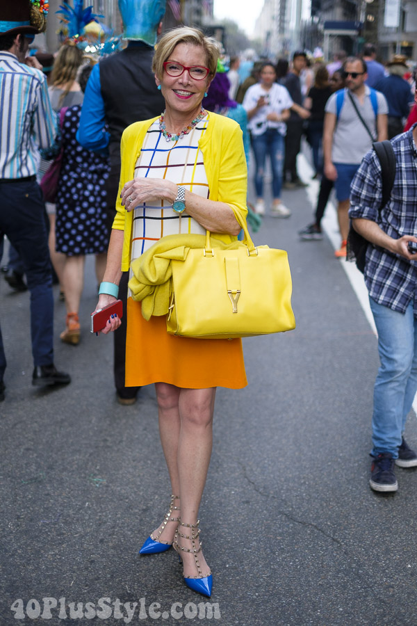Bright color blocking at the New York Easter Parade | 40plusstyle.com
