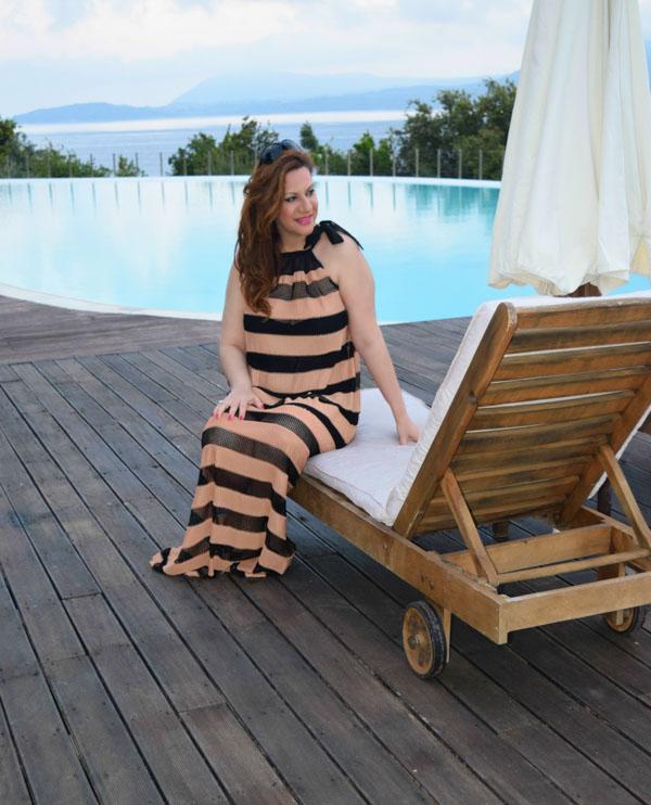 Pool and cabana wear: Striped dress   40plusstyle.com