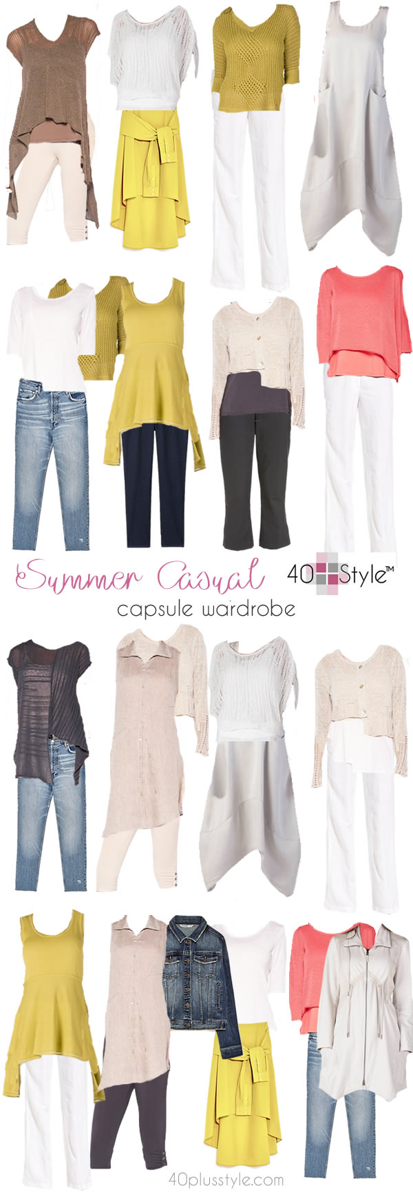 Lots of outfit options in this casual capsule wardrobe for summer | 40plusstyle.com