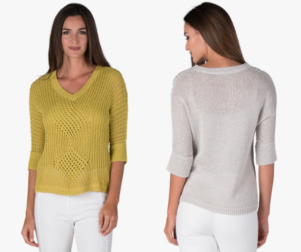 Cotton and paper knitted jumper | 40plusstyle.com