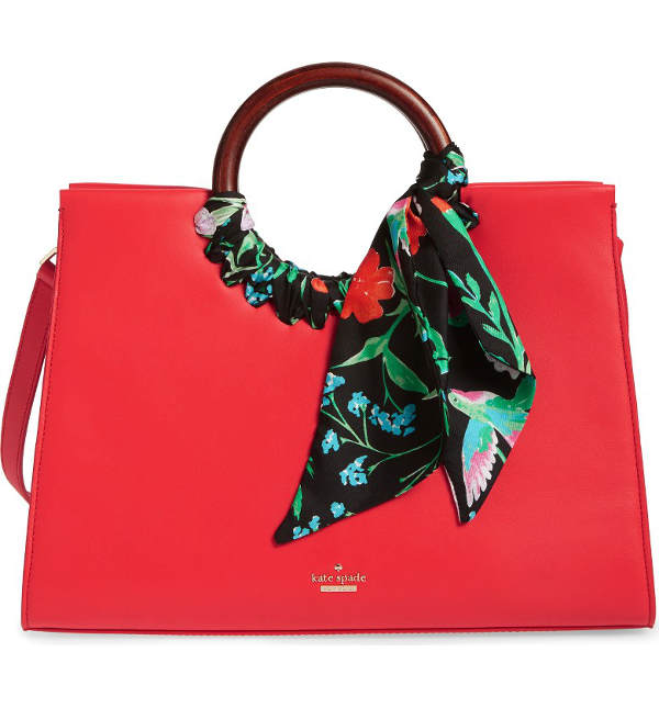 Kate Spade's elegant statement tote with a scarf detail | 40plusstyle.com