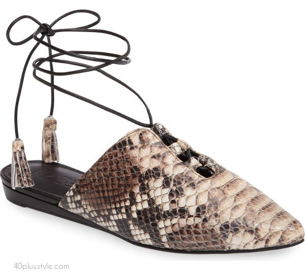 Moroccan mules with ankle wrap | 40plusstyle.com
