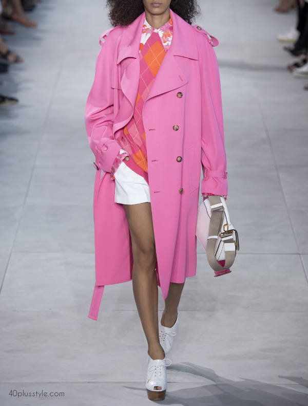 color blocking using pinks and oranges like michael kors - 40plusstyle.com