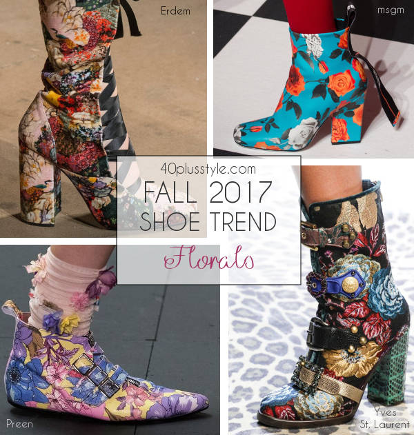 floral trend for fall 2017 shoes | 40plusstyle.com