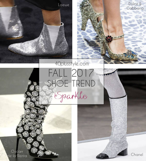 glitter and sparkle trend for fall 2017 shoes | 40plusstyle.com