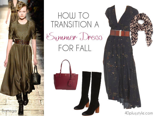 how to dress up your summer dress for fall | 40plusstyle.com