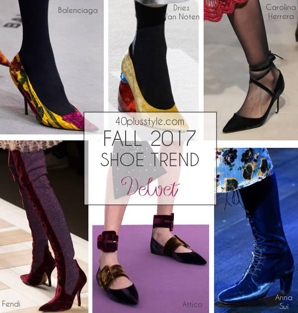 fall 2017 velvet shoe trend | 40plusstyle.com