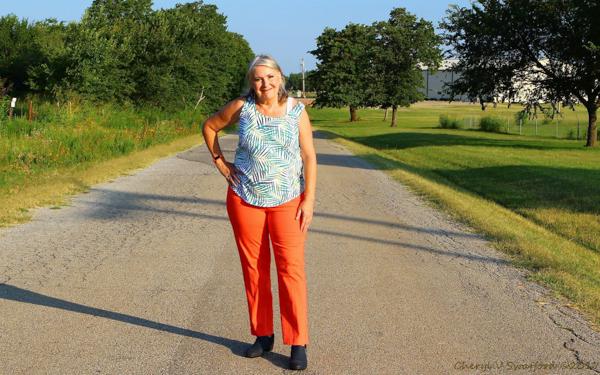 Stylish in bold orange pants   40plusstyle.com
