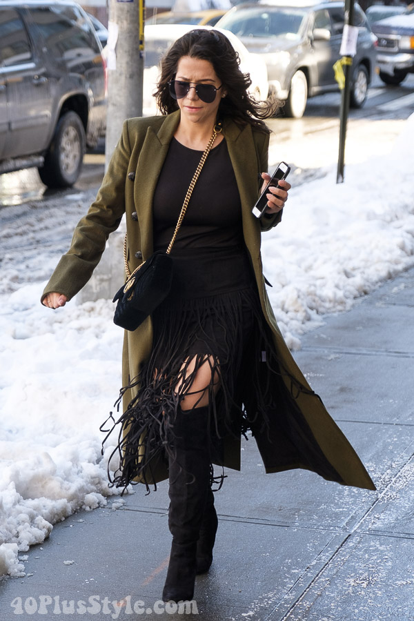 Chic and edgy fashion with an olive green coat | 40plusstyle.com