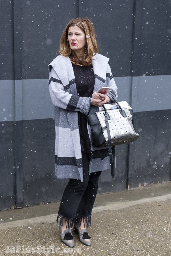 bold striped coat for winter fashion | 40plusstyle.com