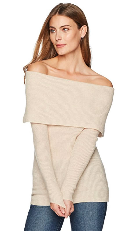 Lark & Ro cashmere off-the-shoulder sweaters