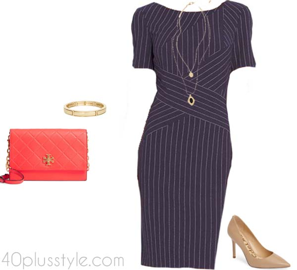 slimming striped outfit | 40plusstyle.com