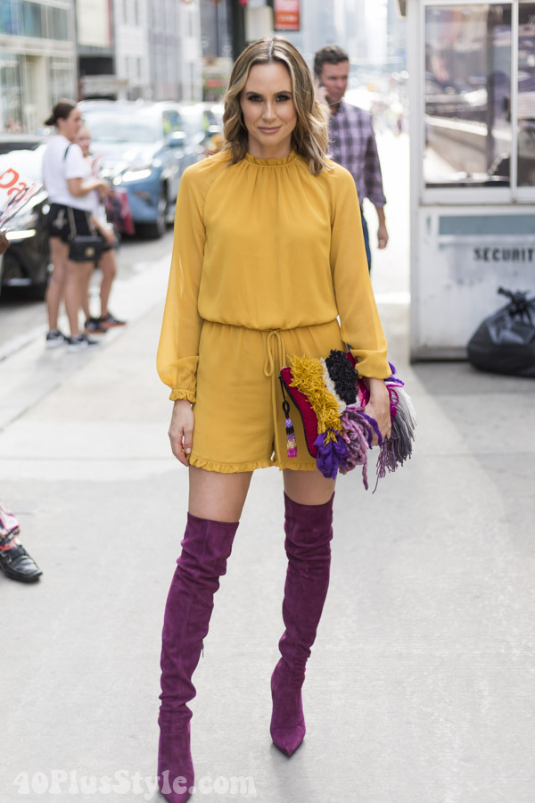 Bold yellow outfits with high knee boots | 40plusstyle.com