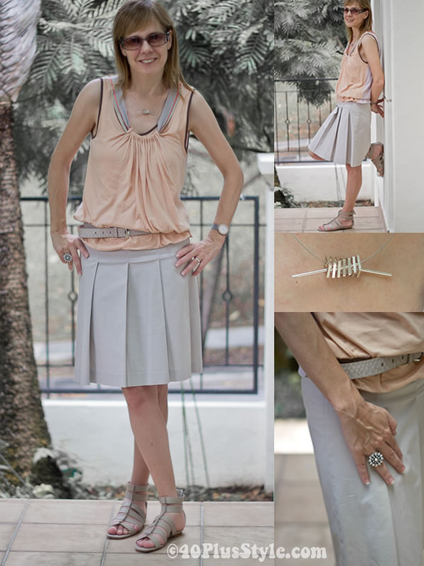 Alldressedup jersey top and zara plated skirt