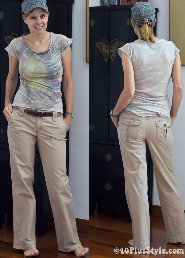 casual pants and t-shirt