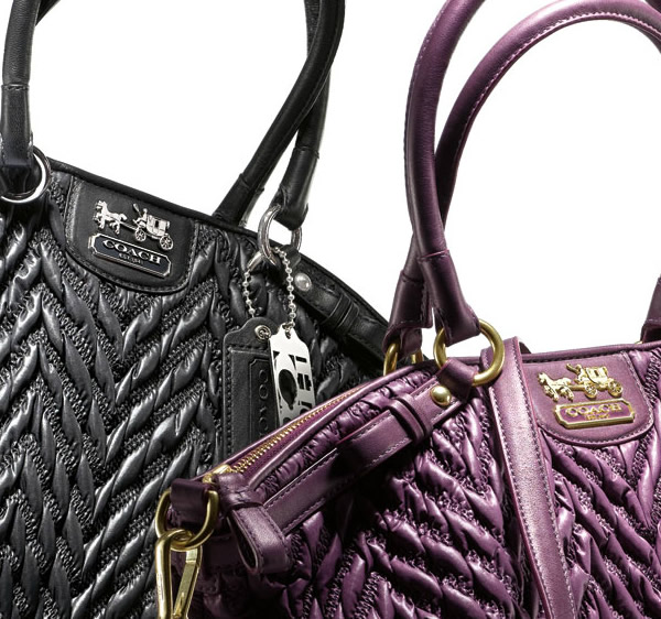 coach madison range of bags purple and black