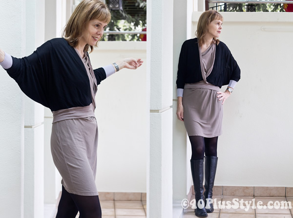 Fall outfits for women over 40 - jnby dress and alldressedup cardigan