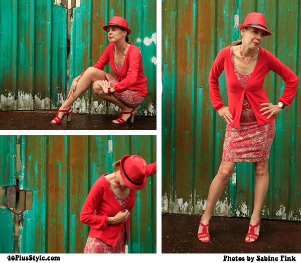 Red dress, red hat - how par villa photoshoot