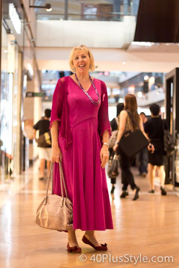 Long fuchsia dress | 40plusstyle.com